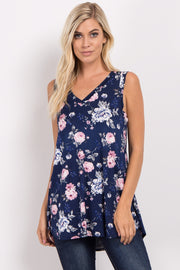 Navy Blue Floral Sleeveless V-Neck Top