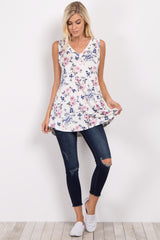 White Floral Sleeveless V-Neck Top