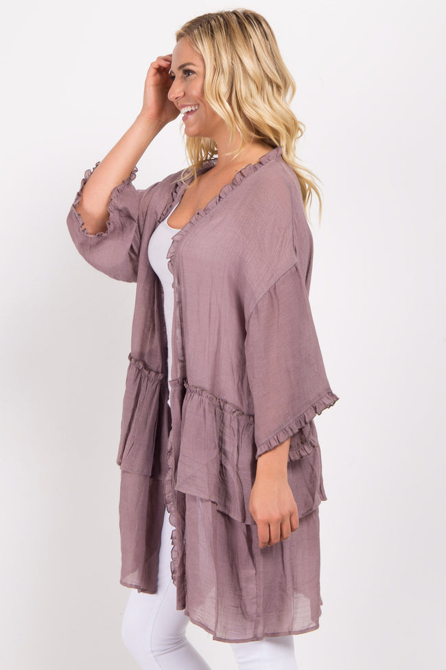 Mauve Solid Ruffle Trim Cover Up