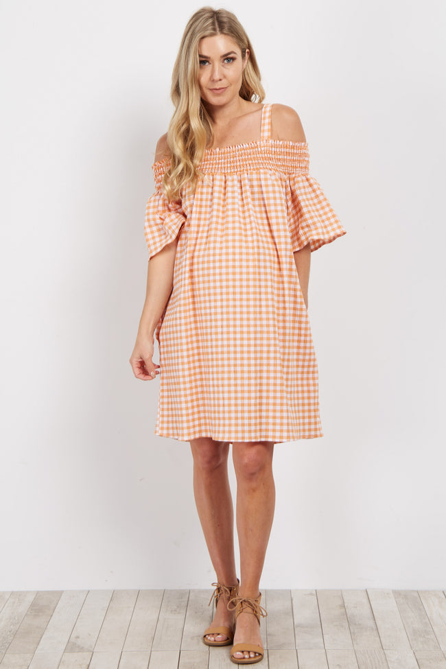 Orange Gingham Cold Shoulder Maternity Dress