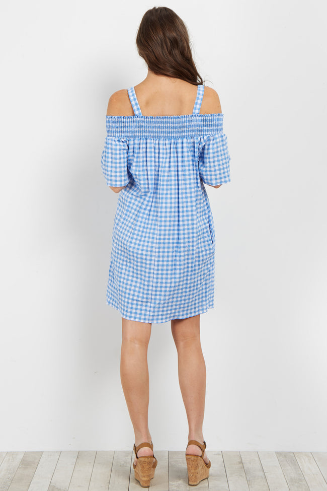 Blue Gingham Open Shoulder Smocked Dress
