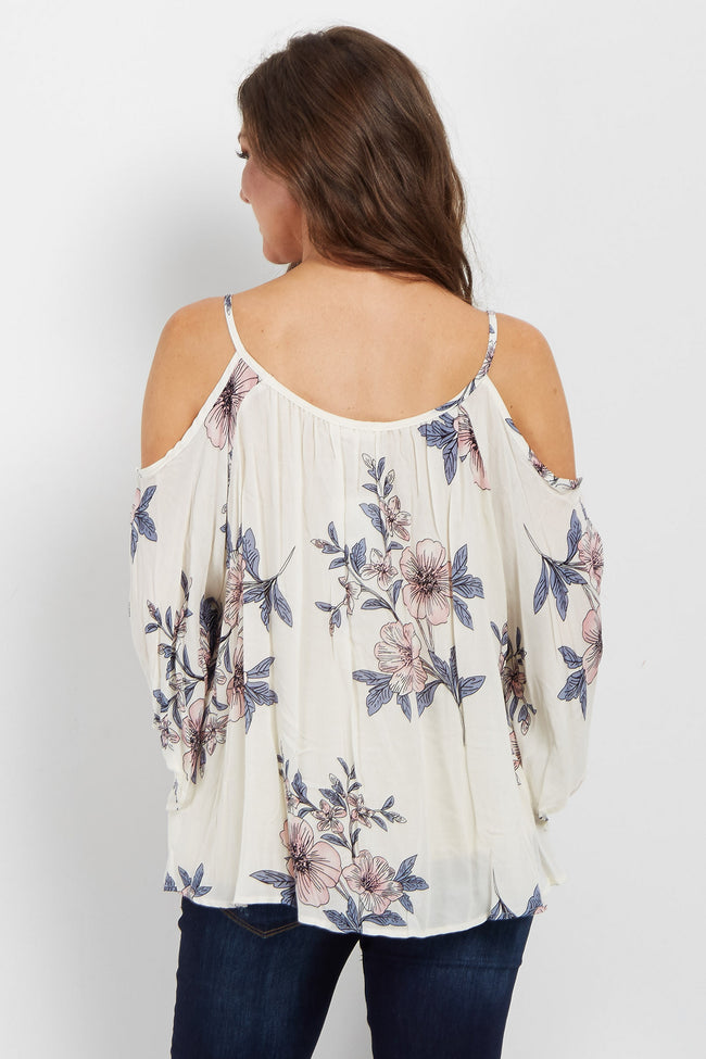 White Floral Open Shoulder Top