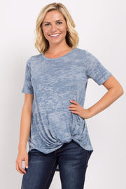 Blue Heathered Short Sleeve Knot Top