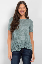 Green Heathered Short Sleeve Knot Top
