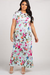 PinkBlush Mint Rose Short Sleeve Plus Maternity Maxi Dress