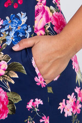 Navy Rose Floral Plus Maternity Maxi Dress