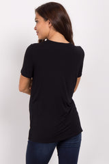 Black Cutout Front Short Sleeve Maternity Top