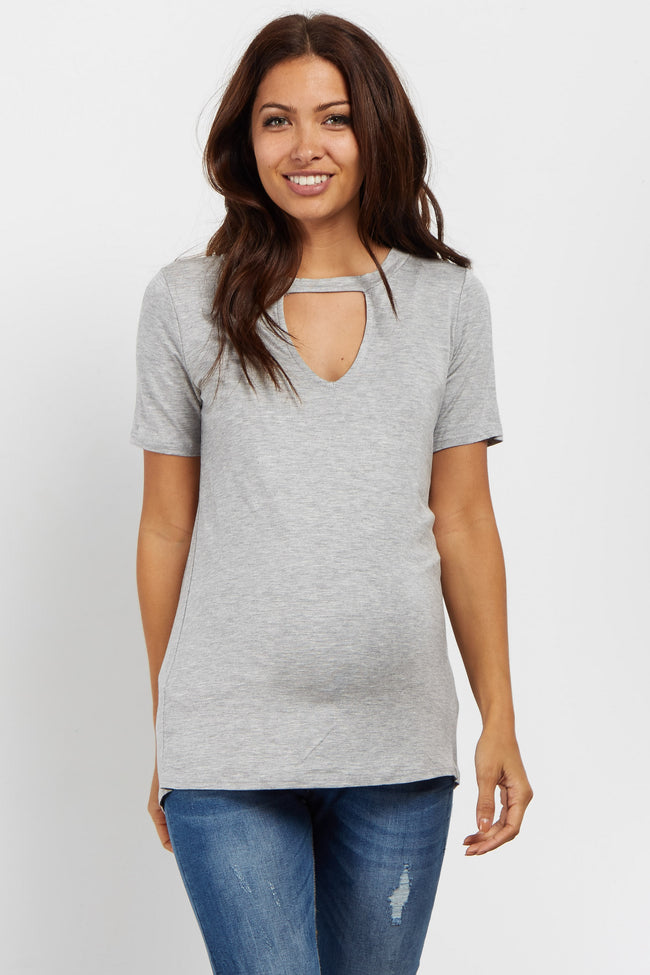 Heather Grey Cutout Front Short Sleeve Maternity Top