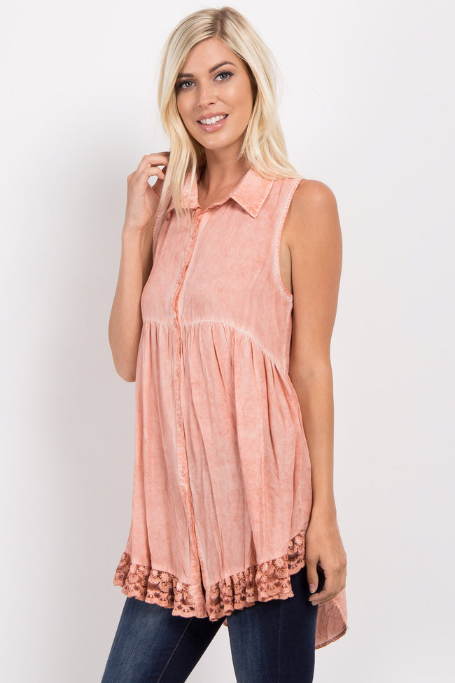 Peach Button Down Crochet Accent Sleeveless Blouse