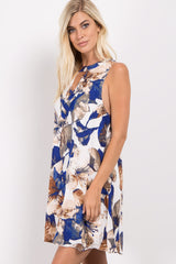 Blue Floral Keyhole Sleeveless Dress