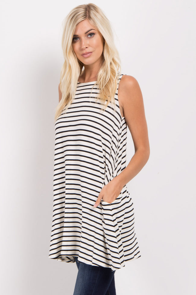 Ivory Striped Cutout Back Swing Tunic