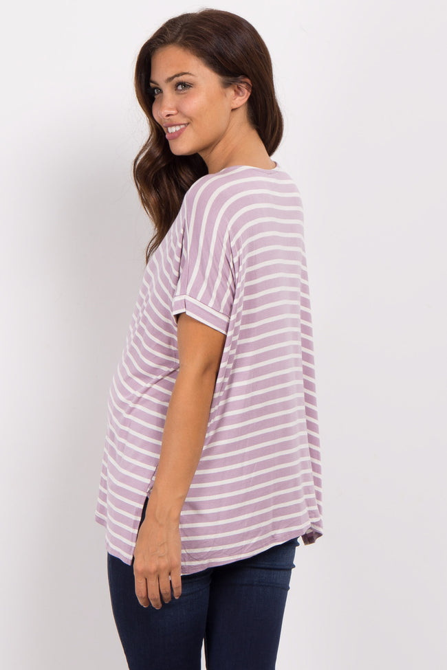 Lavender Striped Dolman Sleeve Maternity Top