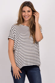 Ivory Striped Dolman Sleeve Maternity Top