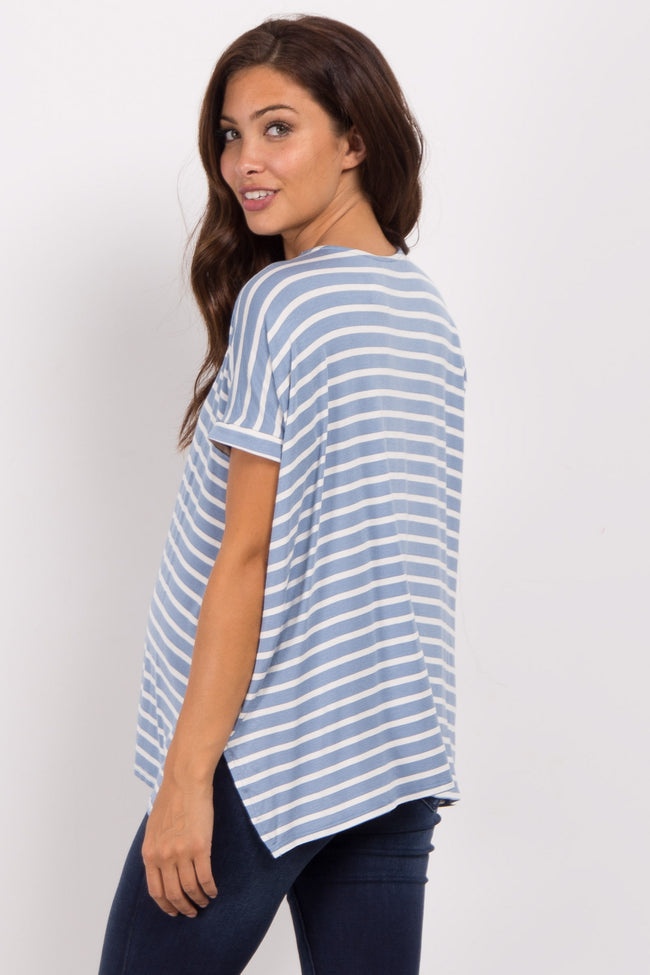 Blue Striped Dolman Sleeve Maternity Top