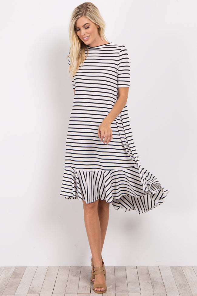 Ivory Striped Hi-Low Flounce Hem Maternity Midi Dress