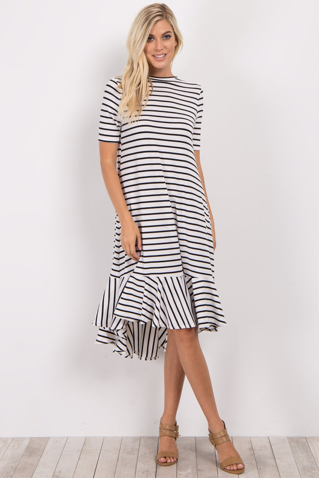 Ivory Striped Hi-Low Flounce Hem  Midi Dress