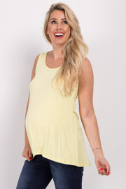 Yellow Lace Up Back Sleeveless Maternity Top