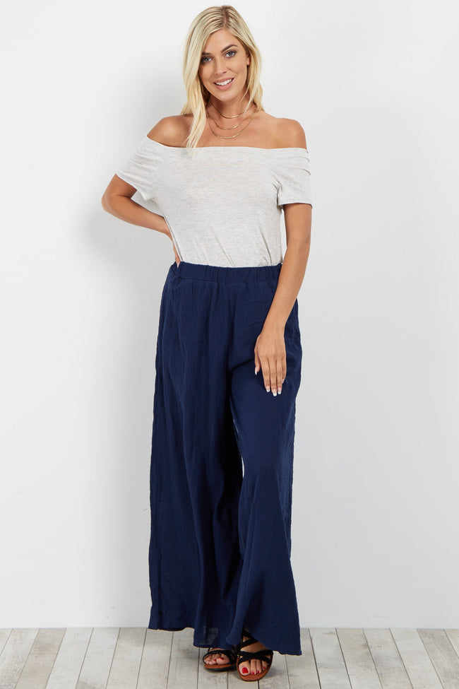 Navy Blue Wide Leg Linen Maternity Pants