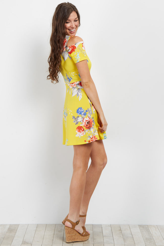 Yellow Floral Cold Shoulder Dress