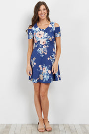 Blue Floral Cold Shoulder Dress
