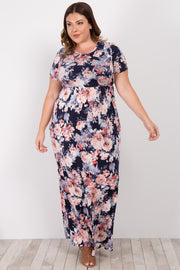 Navy Floral Short Sleeve Plus Maxi Dress