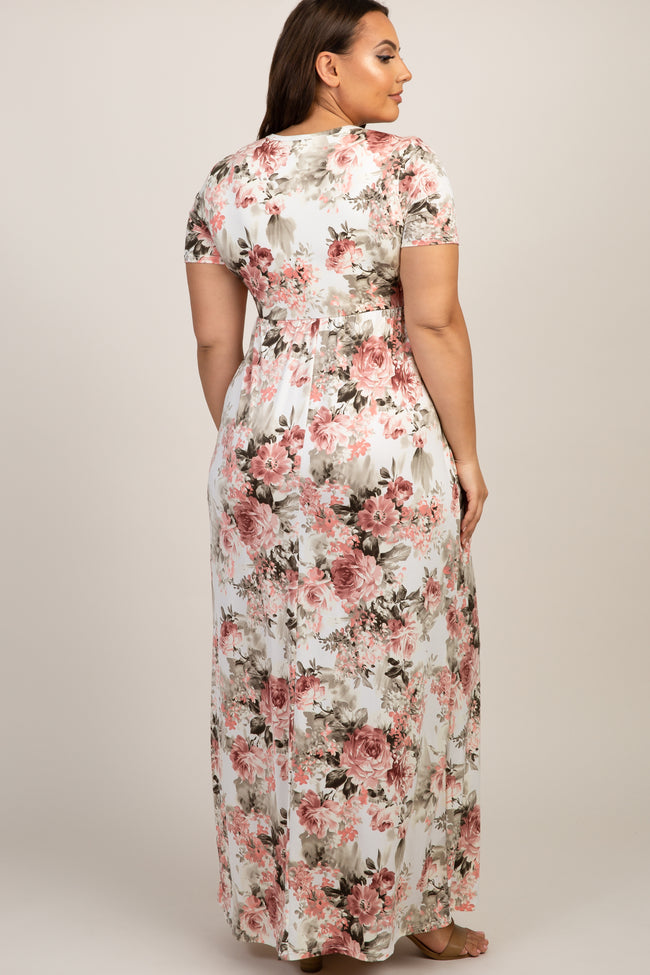 Ivory Floral Short Sleeve Plus Maxi Dress