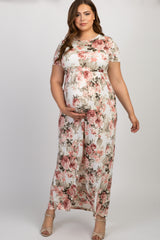 Ivory Floral Short Sleeve Plus Maternity Maxi Dress