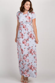 Silver Floral Short Sleeve Maxi Dress