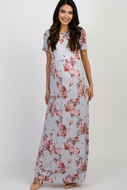 Silver Floral Short Sleeve Maternity Maxi Dress