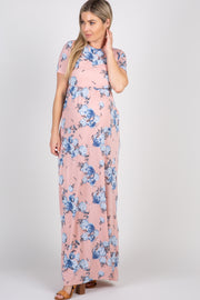 Peach Floral Short Sleeve Maternity Maxi Dress