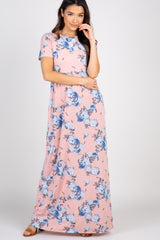 Peach Floral Short Sleeve Maxi Dress