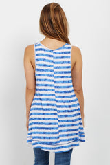 Blue Striped Sleeveless Maternity Top