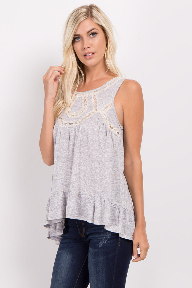 Heather Grey Lace Accent Ruffle Trim Top