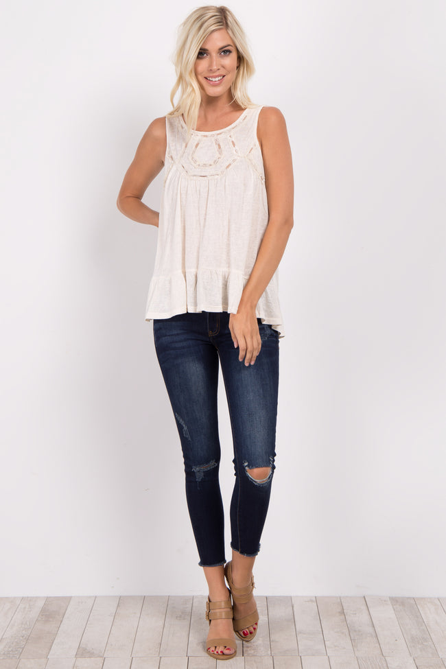 Beige Lace Accent Ruffle Trim Top