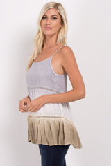 Grey Crochet Tiered Ombre Top