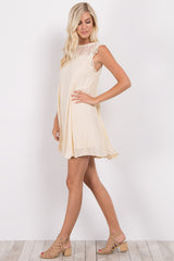 Cream Crochet Mesh Neck Dress
