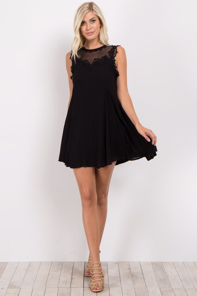 Black Crochet Mesh Neck Dress