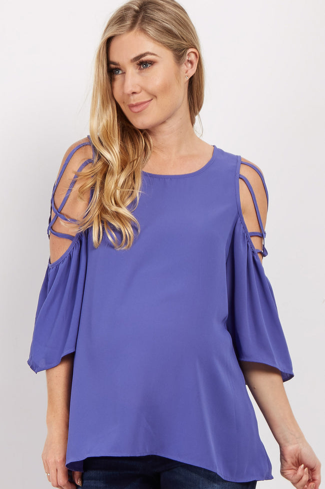 Periwinkle Crisscross Cold Shoulder Maternity Blouse