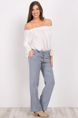 Blue Linen Drawstring Pants