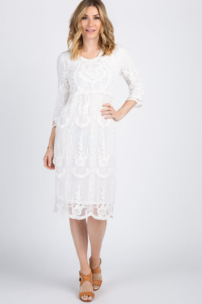 Ivory Floral Lace Overlay Dress