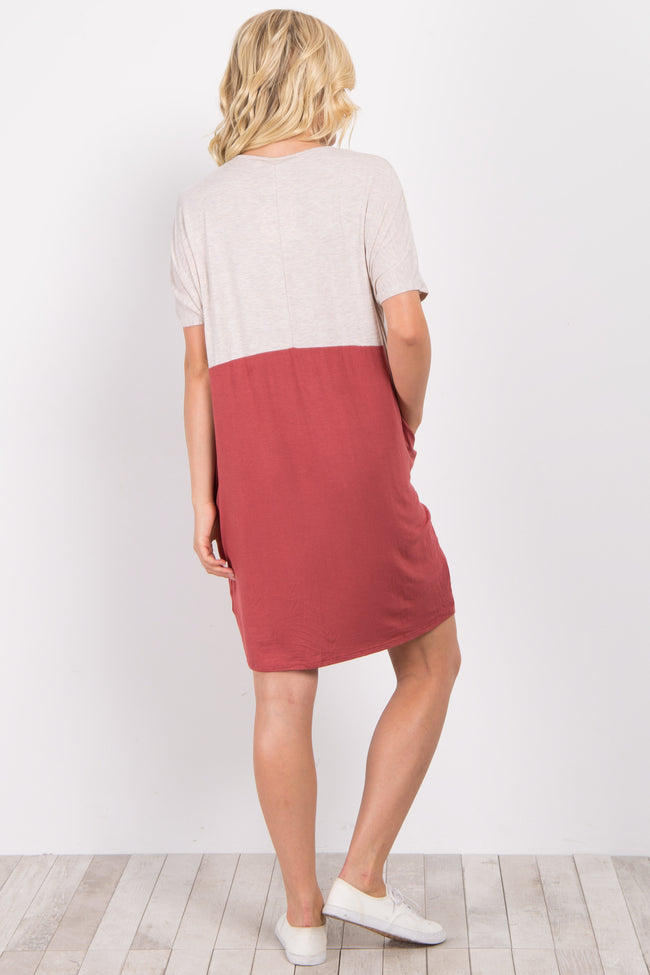 Rust Colorblock Pocket Dress
