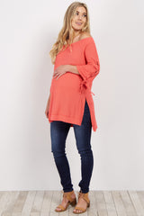 Coral Off Shoulder Lace-Up Sleeve Maternity Top