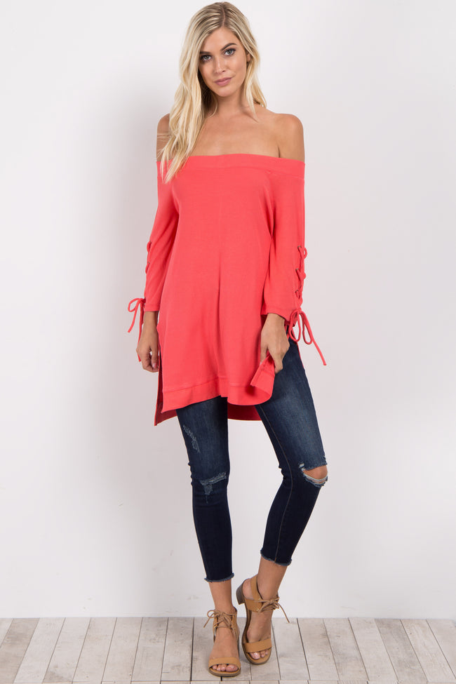 Coral Off Shoulder Lace-Up Sleeve Top