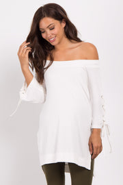 Ivory Off Shoulder Lace-Up Sleeve Maternity Top