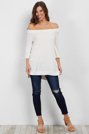 Cream Off Shoulder Lace-Up Sleeve Top