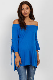 Royal Blue Off Shoulder Lace-Up Sleeve Maternity Top