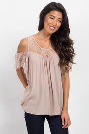 Mocha Cold Shoulder Lace Top Blouse