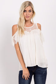 Cream Cold Shoulder Lace Top Blouse