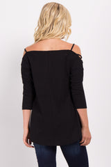 Black Cutout Shoulder Ribbed Top