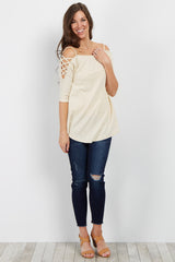 Beige Cutout Shoulder Ribbed Top
